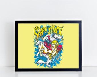 SHARK Art Girl Print Canvas Shark Poster Shark Decor Art Canvas Animal Print Nautical Art Seal Life Print Ocean Life Boys Decor Home Art