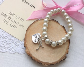 Ribbon bracelet, stretchy pearl bracelet, Flower girl jewelry, kids bracelet initial bracelet, personalized. Comes with card, bag.