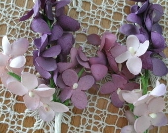 5 bunches of purple and lavender paperylilacs vintage millinery cloth flowers