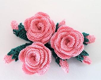 Crochet theme Rose flower crochet motif Fake rose flower Rose applique Flower rose crochet applique Flower crochet motif Crochet roses 3 pcs