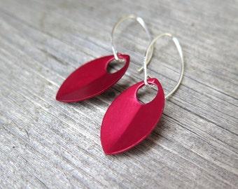 crimson red earrings in sterling silver. red jewellery. sterling silver dangle earings.