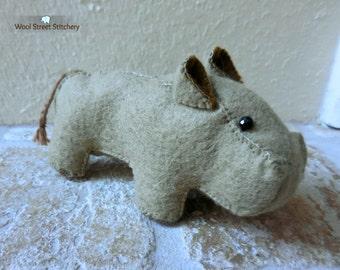 Hippo stuffed animal, handmade felt hippo, hippopotamus, zoo animal, animal gift, felt stuffed animal, felt animal gift