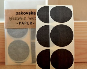 50 black paper circle stickers, round shaped label, medium sized, 35mm, geometric shape, gift decoration, birthday supplies, envelope seals