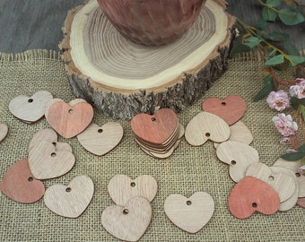 "Adorable Wood Hearts ~ 2"" ~ With Hole ~ Cute Little Wooden Hearts! Rustic Table Confetti, Wedding Table Scatter, Rustic Wedding Decor"