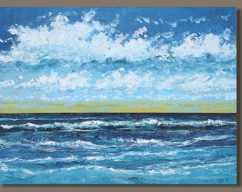 FREE SHIP XL Seascape Painting, Abstract Ocean Painting, 30x40 inches, Blue Painting, Water, Horizontal Orientation, Bedroom Decor, Waves