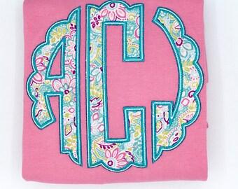 Girls Scallop Monogram Short Set or Shirt . Girls Scalloped Circle Monogram Embroidered  Personalized Shirt