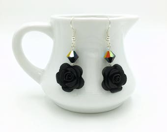 Black Paper Rose Dangle Earrings with Swarovski Crystals