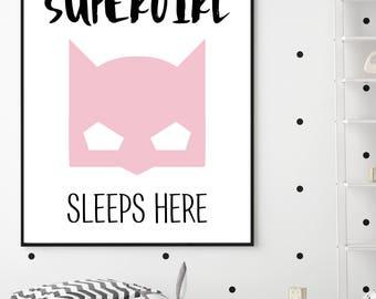 A Supergirl Sleeps Here Batgirl Wall Art/Batgirl/Batman/Lego Batgirl/Pink