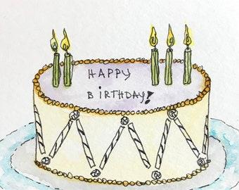 Happy Birthday Cake 4x4 original watercolor by Nan Henke