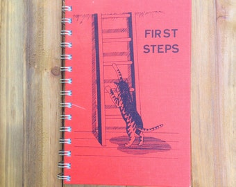 Vintage Cat Notebook / First Steps / Recycled Kitty Book Journal