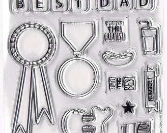 Best Dad Father Celebration Set of 11 Clear Cling Stamps by Mr Mister