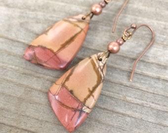 Stone earrings, dangle drop earrings, stone jewelry, colorful jewelry, jasper earrings, gift for her, small earrings, natural stone earring
