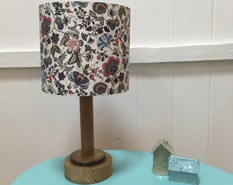 Liberty Mabelle handmade drum lampshade - Summer inspired floral pattern in red, grey and petrol blue - grey floral drum lampshade