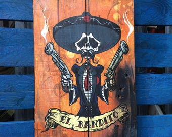El Bandito Official David Lozeau Day of the Dead Wood Art without frame