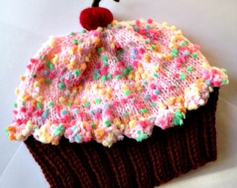 Cupcake Hat with Cherry on Top Dark Chocolate Brown Cake Pink Cotton Candy Frosting with Sprinkles Children Baby Toddler handmade hand knit