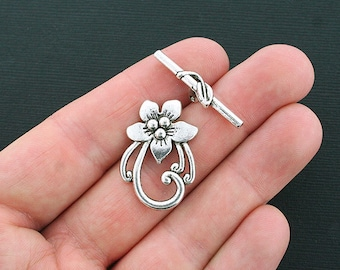 3 Flower Toggle Clasp Sets Antique Silver Tone Flower and Stem 2 Piece Charm- SC3771
