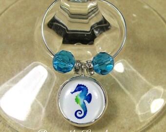 Seahorse Wine Charms, Seahorse Wine Tags, Seahorse Wind ID, Seahorse Gifts, Seahorse Home Decor, Seahorse Table Decor, Beach Wine Charms