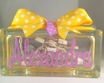 Girls Customized/Personalized Lighted Glass Block Nightlight (Rectangle 8in x 3in)