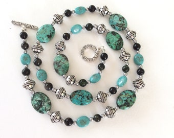 African Green jasper, Tourmaline, Magnesite and Silver Longer length gem Bead Necklace
