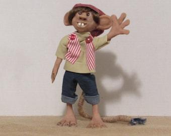 "OOAK Art Doll, Polymer Clay Troll, 10"" Handmade Troll, ""Bucky"" the Troll, by Susan Massey"
