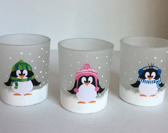 Votive Candle Holders - Set of 3 Penguins Glass Candle Holders