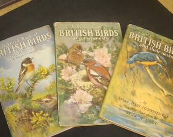 British Birds and their Nests, with DJs Complete 3 Volume Ladybird Nature Set, VG