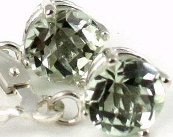 Green Amethyst, 925 Sterling Silver Leverback Earrings, SE017