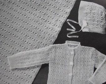 1950s 3 Vintage Baby Knitting PDF Patterns Blanket Sweater Hat 6110