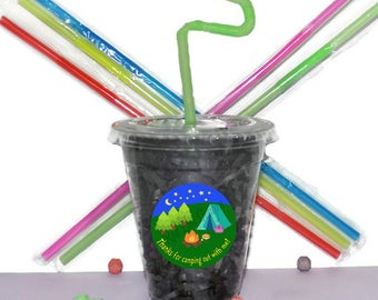 Camping Party Cups, Camping Party Cups, Kids Birthday Party Cups, 20 Cups, Sleepover Kids Party Cups, Straws and Lids, 12 Ounce Cups