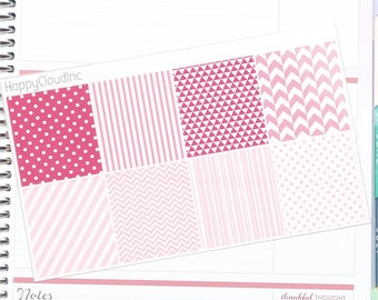 February '18 HORIZONTAL Decorative Full Boxes Planner Stickers for use with Erin Condren LifePlanner™ (8 Stickers)