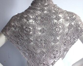 Triangular Shawl Wrap  Hand knit  Crochet Silver Grey Gray Luxurious Silk Cashmere  - ready to ship
