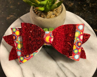 Red glitter with paint splattered patterned leather glitter hair bow for little girl 5 inches 1