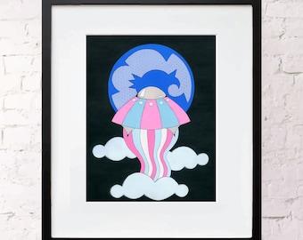 To the Moon Print  -  Art Print Giclée - Gouache Illustration