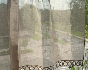 Natural Linen Curtain Vintage Lace Curtains Cafe Curtains Washed Linen Gray  Kitchen Curtains Lace Panels Curtains