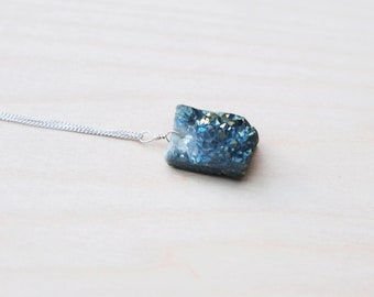 Druzy Pendant, Raw Crystal Pendant, Druzy Necklace, 925 Sterling Silver Chain, Boho Pendant, Wire Wrapped Pendant, Druzy, Gift For Her