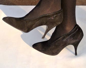 NOS - Vintage Maud Frizon Paris Made in Italy Black Suede Leather Heels - Size 36 1/2