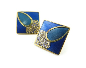 Vintage Roccoco, Enamel Earrings, Blue, Gold Tone, Signed, Posts