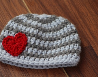 Crochet baby hat, Newborn preemie hat, Crochet baby hats, valentines newborn  infant hat, Crochet photo prop, baby shower gift