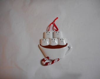 Family of Five Hot Chcolate and Marshmallows  Personalized Ornament