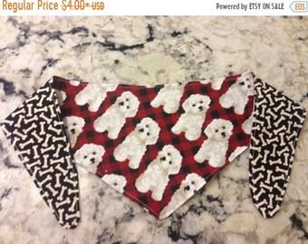 ON SALE Tie-on Dog Bandana White Curly Puppy  - XSmall/Small/Medium