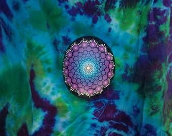 Blue and Purple Medium Hand Painted Mandala Stone