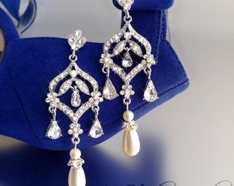 Long Pearl Chandelier Bridal Earrings - Silver and Crystal Earings with Teardrop Pearl