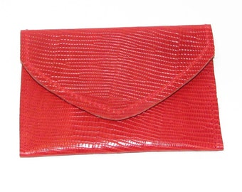 Tomato Red Embossed Lizard Leather Card Case Wallet Handmade Free Shipping US and Canada