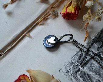 Dark Hearts Silver Valentine Drop Necklace