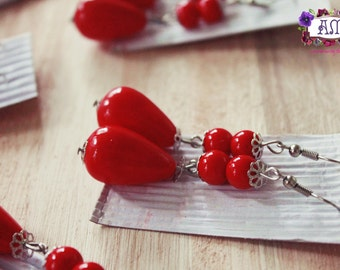 Drop earrings with pearls - Flamenco Style