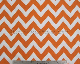 Robert Kaufman REMIX ZIG Zag, Tangerine Orange Chevron - Cotton Quilt Fabric - Remnants Half Yard Fat Quarter