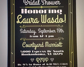 Black and White Gatsby Art Deco Style Shower/Wedding Invitations