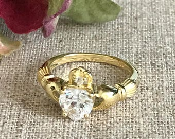 Claddagh Ring, Gold Plated Sterling Silver Ring Personalized Birthstone Claddagh Ring,  Claddagh Wedding Ring,Love Loyalty Friendship Ring