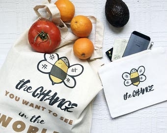 Bee zipper pouch and tote bag, reusable shopping bag set, coin pouch, bee grocery bag, make up pouch, tote bag, eco vegan canvas tote bag