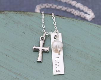 Baptism Gift Confirmation Jewelry Baptism Necklace • Sterling Silver Cross Necklace Confirmation Religious Gift Christian Charm Cross Gift